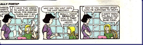 Sally Forth - Kids Skipping Deadlines then Panicking