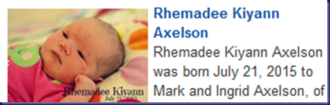 Rhemedee Kiyann Axelson Birth Announcement