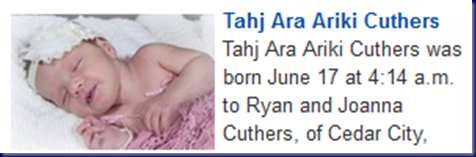 Tahj Ara Ariki Cuthers Birth Announcement