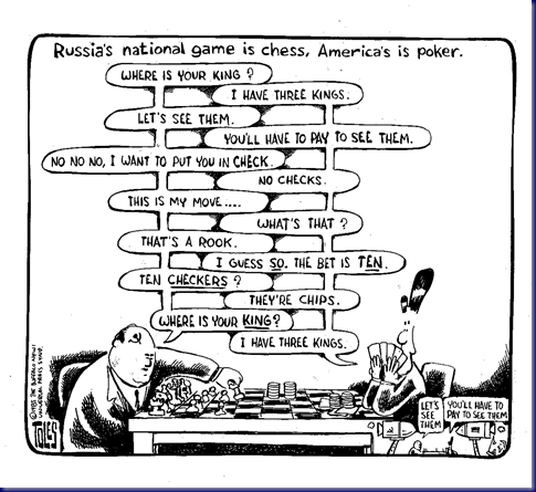 Toles;85-xx-xx;Reagan,Gorbachev,poker,chess,game,bluff